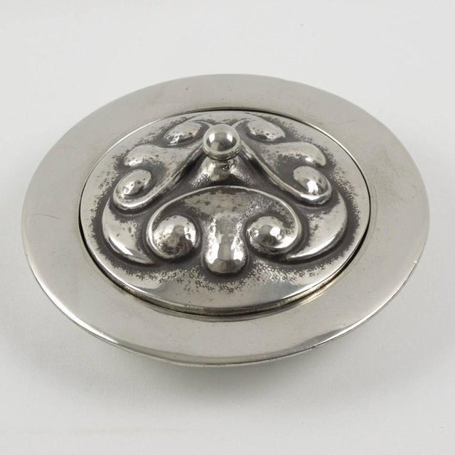 Lovely French Art Nouveau uniquely illustrated hand-wrought dinanderie pewter covered round box with beautiful polished...