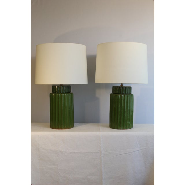 Green Transitional Style Ceramic Table Lamps - a Pair For Sale - Image 8 of 10