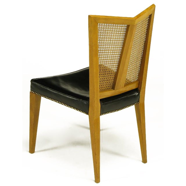 1950s Set of Six Michael Taylor for Baker Walnut and Leather Dining Chairs For Sale - Image 5 of 9