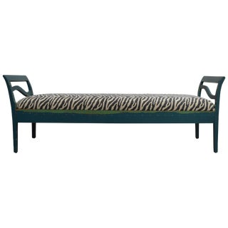 Antique Swedish Gustavian Painted Bench Settee For Sale