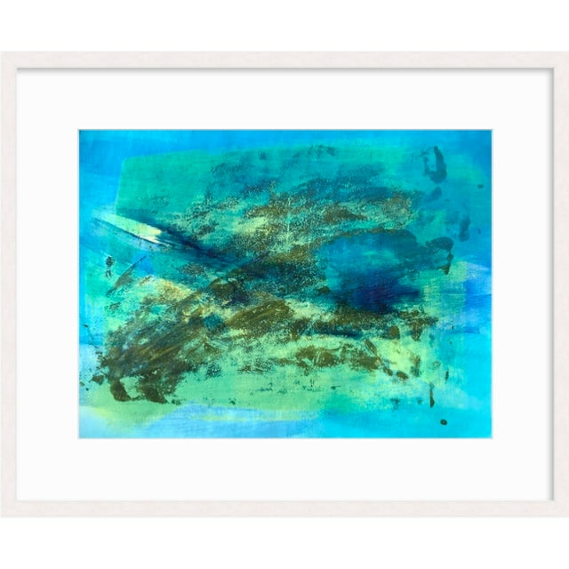 "Patricia Zippin Blue Green Part 1 1980s Mixed Media 20""x 14.25"", unframed ***Framed image is a mere representation..."