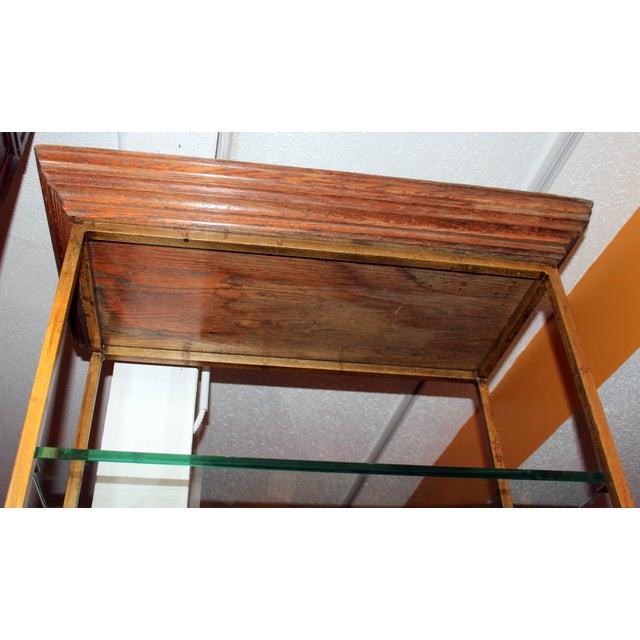 Vintage Midcentury Custom Oak Gilt Steel Metal Shelf Etagere Display Case For Sale - Image 4 of 11