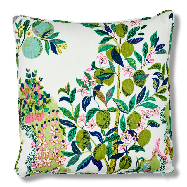 "This 22"" x 22"" pillow features Citrus Garden in Lime. An archival Josef Frank print created in 1947, this hand-drawn..."