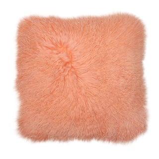 """Peach Mongolian Fur Pillow 18""""x18"""""""