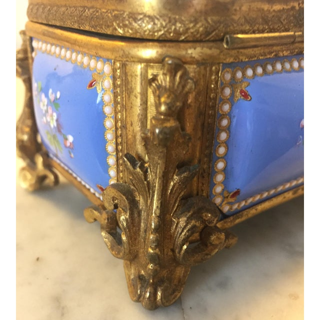Bronze gilt and handpainted Enameled cofferette, circa 1875 rectangular shape, with panels of cerulean blue ground with...