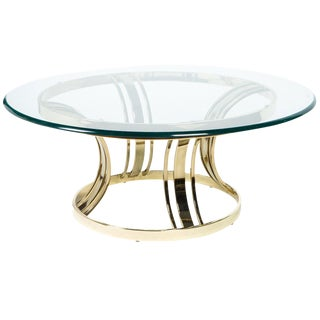 Sculptural Brass and Glass Cocktail Table in Style of Milo Baughman For Sale