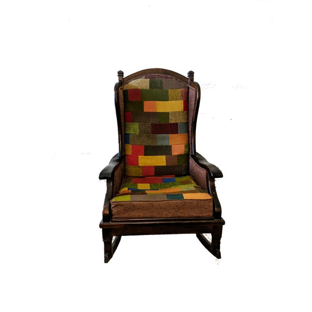 1960s Maxwell Royal Chair Company Upholstered Wingback Rocker For Sale - Image 5 of 8