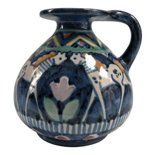 Vintage Hand-Painted Italian Pinto Vietri Blue & White Horse Pottery Jug For Sale