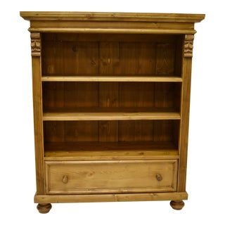 Pine Bookcase With Drawer For Sale