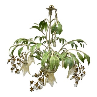 Boho Chic Floral Tole Painted Botanical Chandelier For Sale