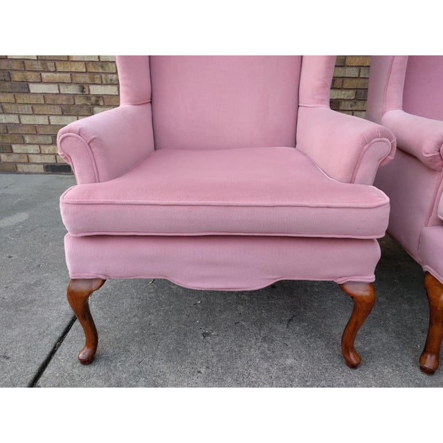 Vintage Queen Anne Pink Velvet Wingback Chairs by Sam Moore Furniture - A Pair - Image 8 of 11