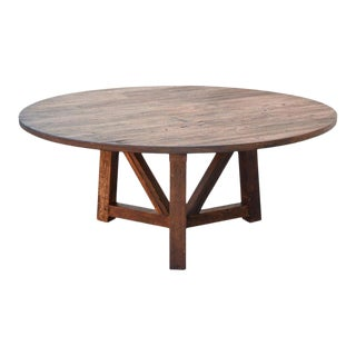 Rustic Custom Round Dining Table Made From Reclaimed Pine For Sale