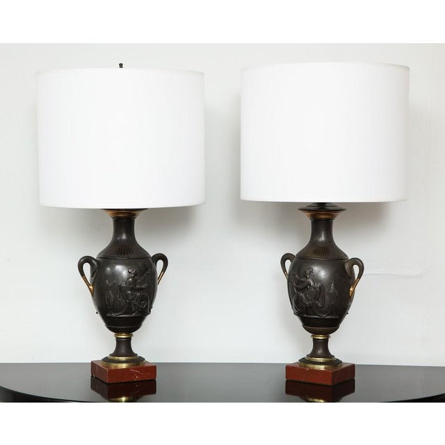 Bronze Pair of Antique French Bronze Urn Lamps in the Neoclassic Manner For Sale - Image 7 of 7