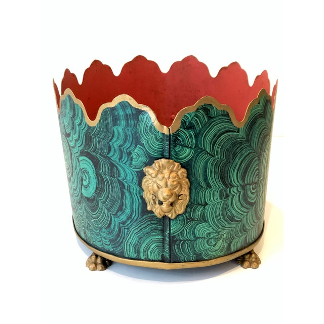 Hollywood Regency style Faux malachite tole planter box with lions' head & claw details. Faux finished, hand painted...