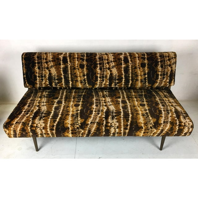 Sofa or Bench With Brass Legs by Edward Wormley for Dunbar-Larsen Velvet For Sale In San Francisco - Image 6 of 8