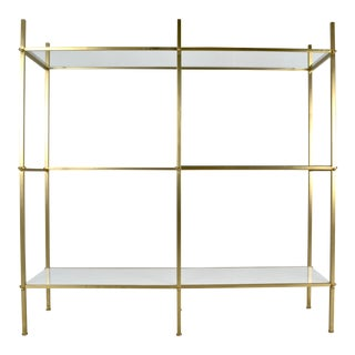Brass Etagere With White and Clear Glass Shelves 1970s For Sale