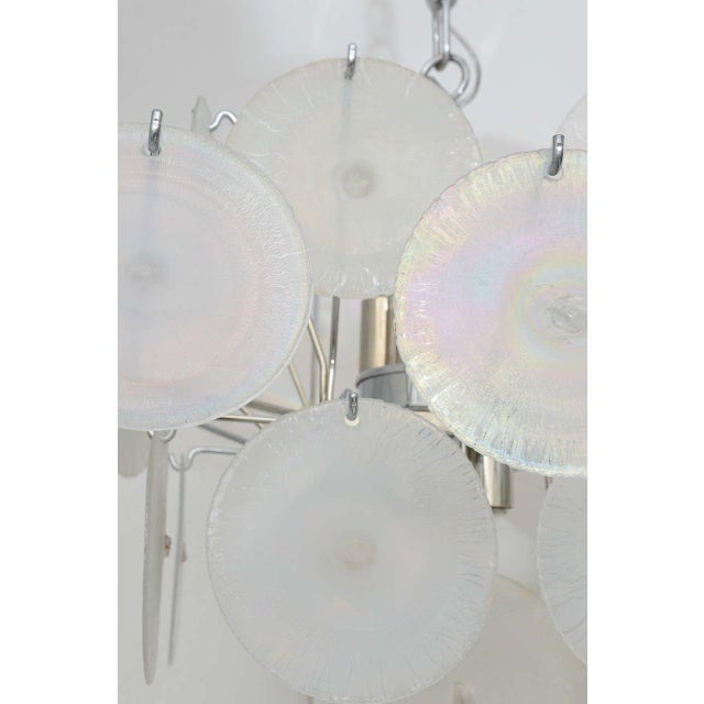 Glass Vistosi Iridescent Disc Chandelier For Sale - Image 7 of 10
