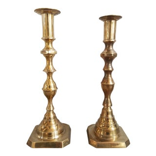Vintage Solid Brass Candlesticks - a Pair