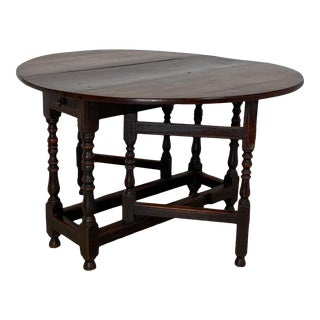 Charles II Oak Drop Leaf Table, England 17th Century For Sale