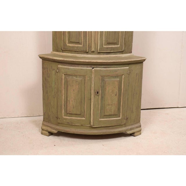 Late 18th Century 18th Century Antique Gustavian Swedish Painted Wood Corner Cabinet For Sale - Image 5 of 12