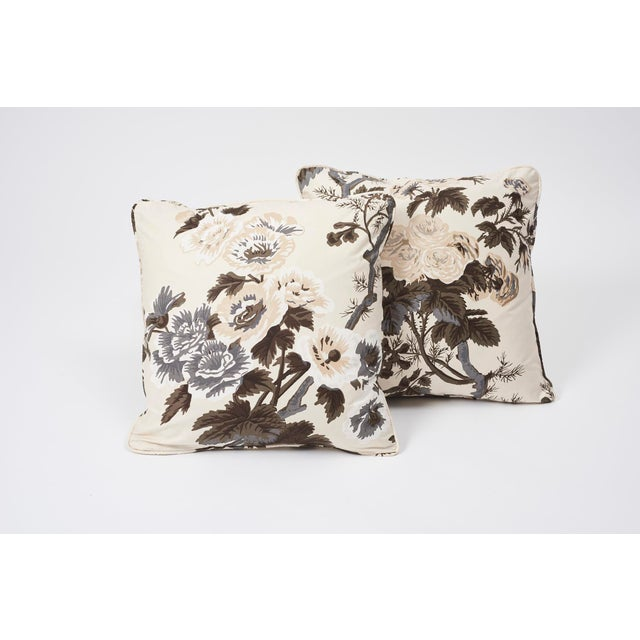 Schumacher Double-Sided Pillow in Pyne Hollyhock Print For Sale In New York - Image 6 of 9