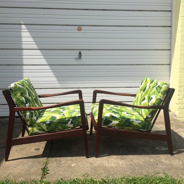 Pair of Mid-Century Banana Leaf Lounge Chairs For Sale - Image 4 of 6