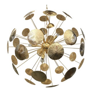 Early 21st Century Gold Metal Frame Sputnik Chandelier For Sale
