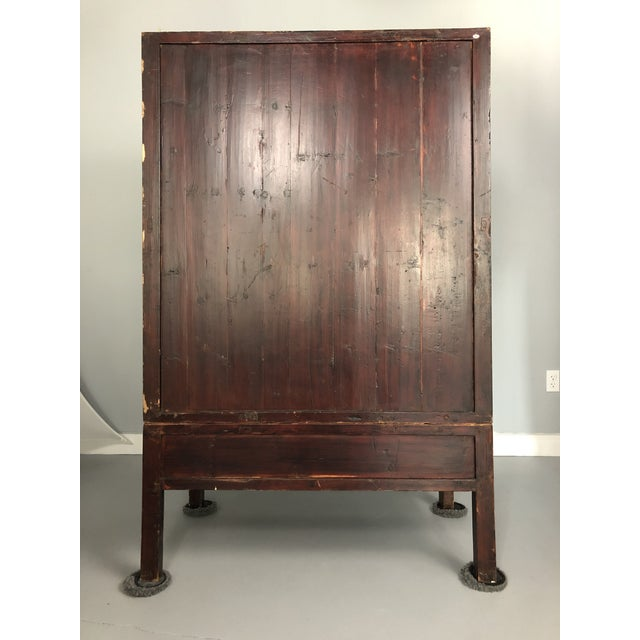 Beautifully hand painted antique Asian wedding cabinet. This cabinet is two pieces, the top sits on the base (see photos)....