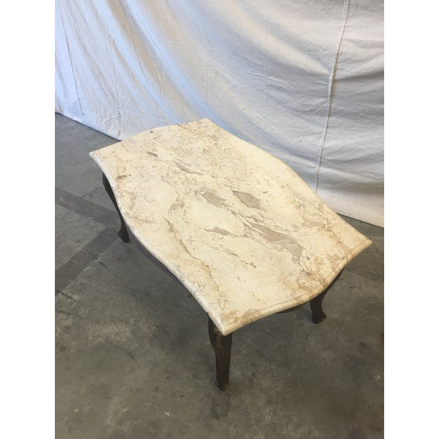 French Louis XV Style Marble Top Walnut Coffee Table For Sale In Austin - Image 6 of 10