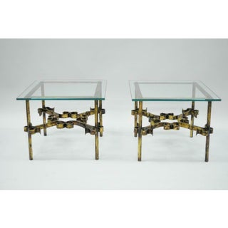 20th Century Hollywood Regency Gold Gilt Iron Square Glass Top Side Tables - a Pair Preview
