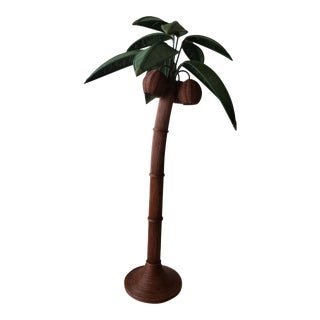 Vintage Wicker Rattan Palm Tree Floor Lamp For Sale