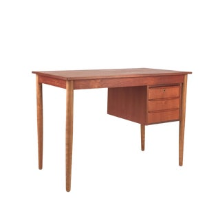 1960s Danish Modern Teak & Birch Desk For Sale