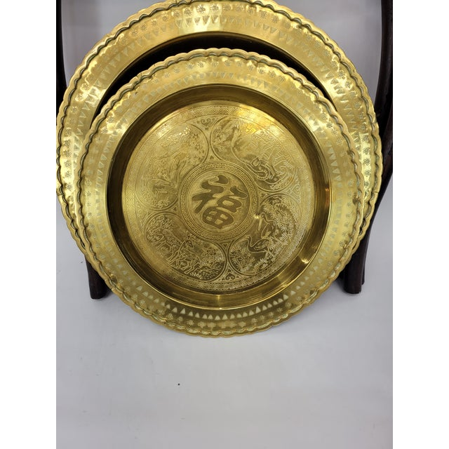 Brass Vintage Asian 2 Tier Brass Tea Table with Engraved Elephants, Deer, and Birds For Sale - Image 8 of 9