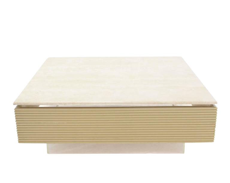 Ribbed Acrylic U0026 Lucite Base Marble Top Square Coffee Table   Image 1 ...