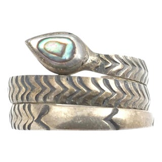 Sterling & Abolone Shell Snake Ring For Sale