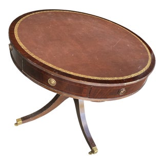 Vintage Baker Drum Table With Leather Top and Casters For Sale
