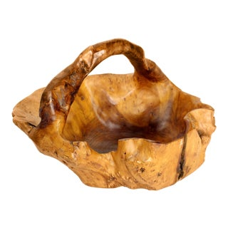 1960s Boho Chic Large Raw Cut Burl Wood Fruit Basket For Sale
