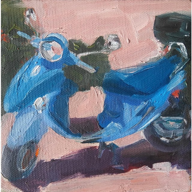 """""""Blue Scooter"""" Oil Painting For Sale - Image 4 of 4"""