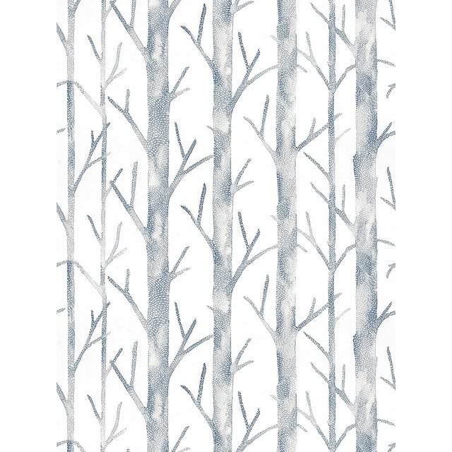 """Pattern Repeat: HORIZONTAL 26""""/66.04 cm, VERTICAL 17.5""""/44.45 cm. Linear yet organic, leafless trees are nature's answer..."""