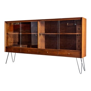 American of Martinsville Walnut Display Cabinet with Hairpin Legs
