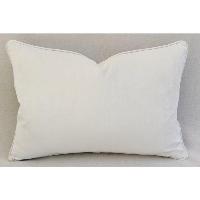 Lavender & White Italian Fortuny Mazzarino & Velvet Pillow - Image 8 of 9