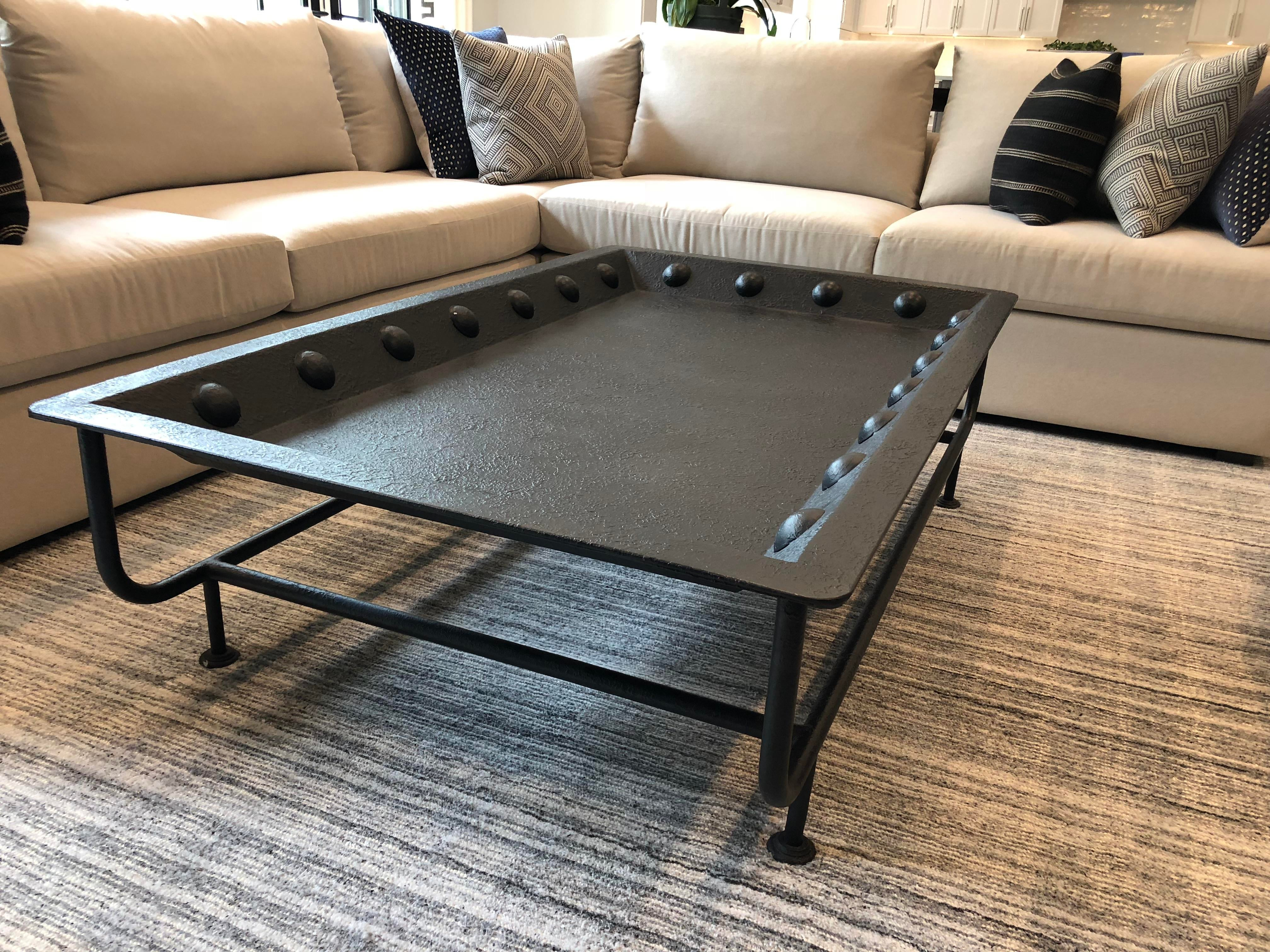Iron Rounded Edge Iron Coffee Table For Sale   Image 7 Of 7