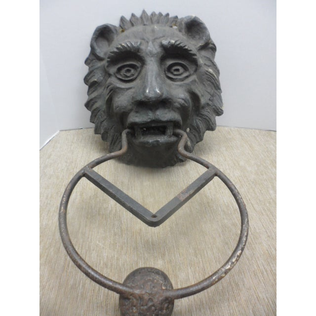 1970s Large Lion Head Door Knocker For Sale - Image 5 of 5
