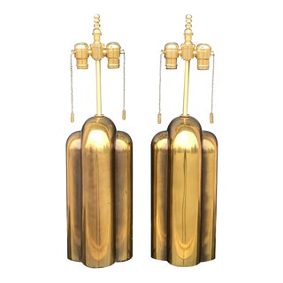 Pair of Patinated Brass Art Deco Style Lamps by Westwood