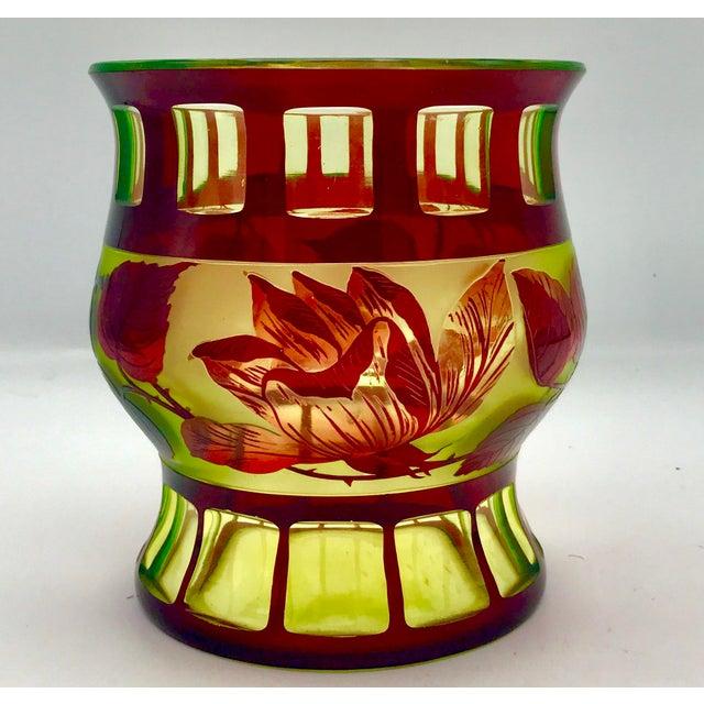 Rare Antique Val St Lambert Crystal Ruby Cut To Vaseline Vase