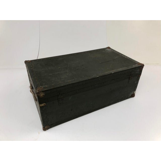Vintage Industrial Green Wood Military Foot Locker Trunk W Tray For Sale - Image 4 of 13