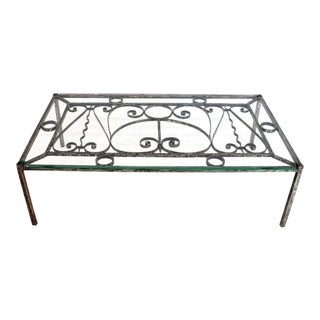 Heavy Gage Wrought Iron Thick Fitted Glass Top Rectangular Coffee Table For Sale