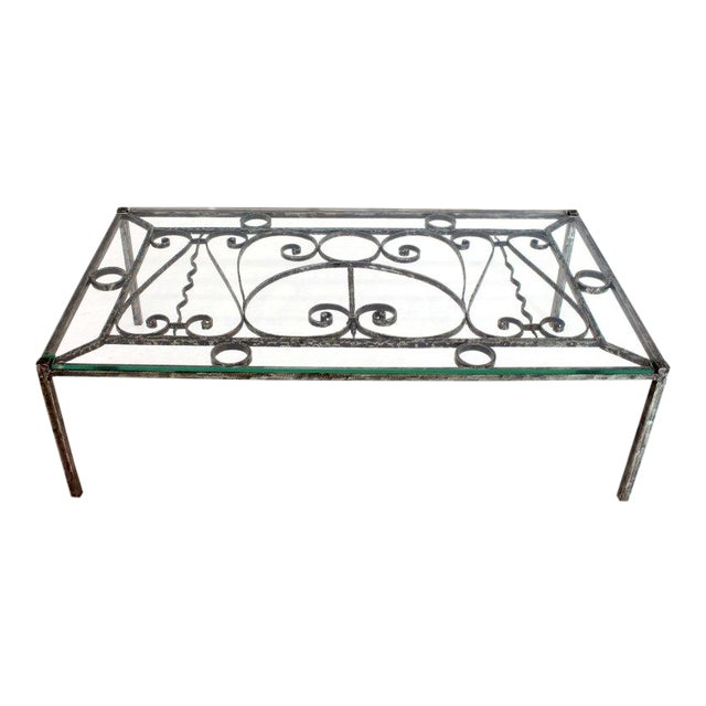 Heavy Gage Wrought Iron Thick Fitted Glass Top Rectangular Coffee Table