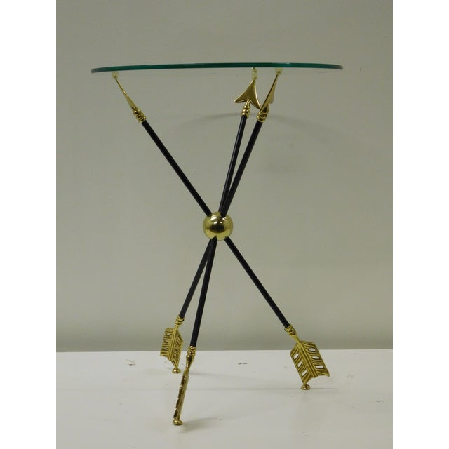 1970s Vintage Iron & Brass Arrow Bouillotte Drinks Lamp Table For Sale - Image 5 of 8