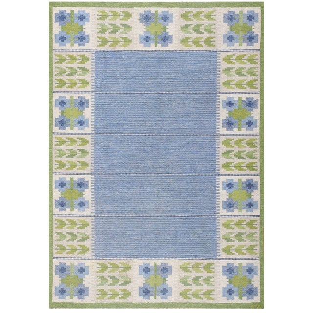 Textile Vintage Swedish Kilim Rug by Berit Woelfer - 6′6″ × 9′2″ For Sale - Image 7 of 7